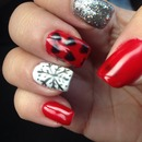 Christmas holiday red white glitter hearts snowflake