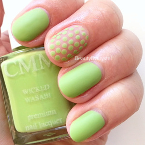 July's shade is Wicked Wasabi, so I paired it up with our #BusyGirlNails week 3 challenge of Polka Dots. LOVE IT! REVIEW: http://www.beautybykrystal.com/2013/07/color-me-monthly-july-wicked-wasabi.html