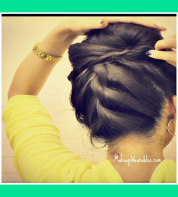 Korean Bun Upside Down Braided Bun Updo French Rope Braid