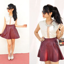 Pleated High Waist Claret-red Slim Skirt