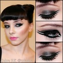 Gunmetal with double winged eyeliner + Victory Rolls