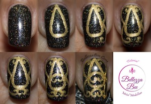 Find the original blog post here: http://www.bellezzabee.com/2013/12/royal-medallion-manicure-tutorial.html