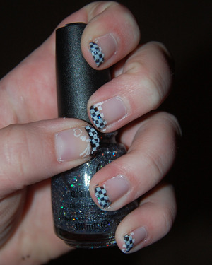 OPI Natural Nail Base Coat Icing - Jet Black China Glaze - Some Like It Haute Sinful Colors - Snow Me White China Glaze - Fast Foward Top Coat Bundle Monster - Plate BM17  http://jessbeez.blogspot.com/2012/04/black-white-challenge-day-two.html