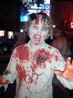 My fiance's full zombie look, in action! For the Trash Film Orgy Zombie Walk in Sacramento.