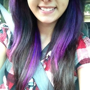 I used to have green/blue hair but it faded, so I dyed it purple. I used Splat hair dye in Lusty Lavender