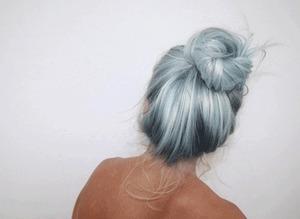 blue messy bun