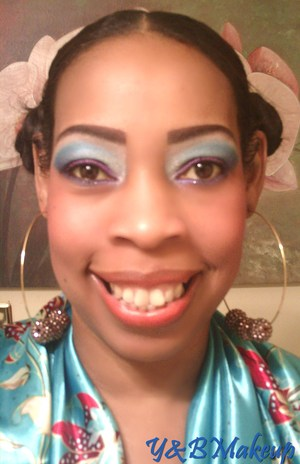 Colorful makeup using bright blues and purples inspired by pics of the carribean islands