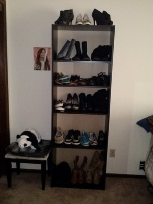 I took a normal bookcase and turned it into a way to hold my shoes :) (I still have to get another bookshelf, believe me, these are not all of my shoes lol)