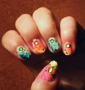 Sponge Nail Art & Stripes