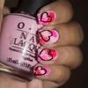 Pink with Hearts Nail Art