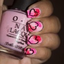 Pink with Hearts Nail Art