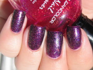 Layers galore... Sinful Colors Daddy's Girl, Kleancolor Chunky Holo Fuchsia, Nicole by OPI Pitch Black Glimmer