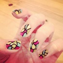 stained glass nail art design.