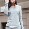 Cut-out Grey Slim Blouse