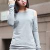 Cut-out Grey Slim Blouse