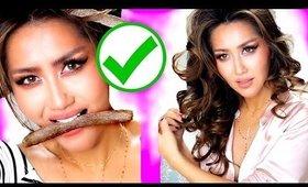 ★DIY Edible HEATLESS CURLS HACK! 💙 Shower ROUTINE!  Hairstyles