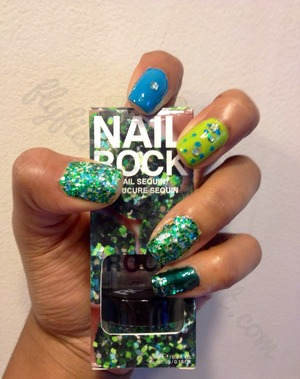 """I used the Nail Rock """"Nail Sequin"""" kit from walmart for the sequins =)  flyfiercefab.blogspot.com www.youtube.com/flyfiercefab"""