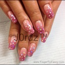 Pink with rainbow silver nails