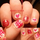 V-day inspired nail art!!!