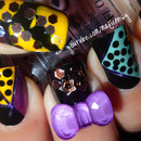 Easy Halloween Party Nail Art Design (using tape and 3D bow)