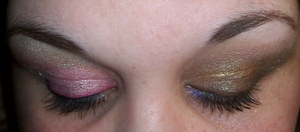 2 different looks - pink & whites on the left, the right is the Urban Decay Roller Derby pallet (without woodstock) and Blue Bus.