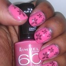 Pink and Black Flowers - Second attempt at Nail Art