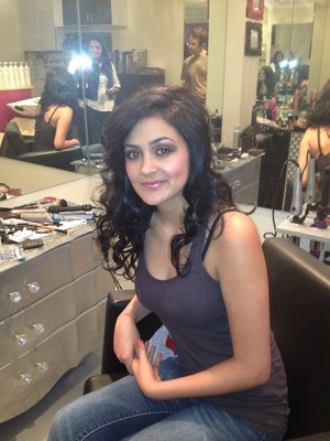 Hair and Makeup for client at salon-blowdowntown