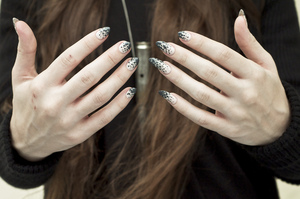 Nails NYX in Nude White, Perfect Gray, and Dark Gray Revlon top coat  More info here: http://bit.ly/QNh9YF