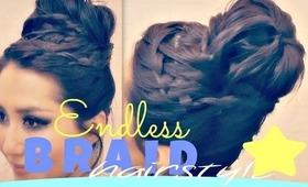★TAKES-FOREVER BRAID! UPSIDE DOWN FRENCH, CROWN BRAID SOCK BUN TUTORIAL HAIRSTYLES FOR LONG HAIR