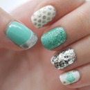 Silver, teal, and white