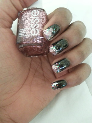 use a black base coat . Then use all kinds of glitter on the tip of your nails . then end with a clear top coat .
