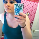 Blue hair with a blue to teal gradient eye