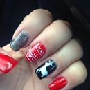 Christmas holiday red black reindeer nails