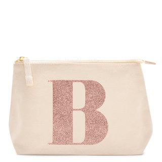 Rose Gold Glitter Initial Makeup Bag Letter B