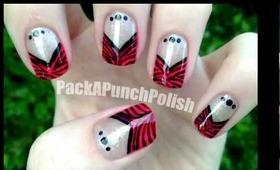 Zebra Print V Shape French Tip Nail Art Tutorial