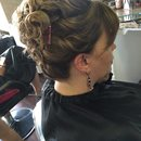 Up do highlights low lights and hair cut by Christy Farabaugh
