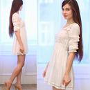 Dual-tone Hem White Dress