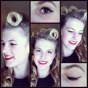 hotd: victory rolls with barrel curl. Makeup- cat eyes and red lipstick