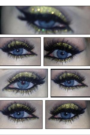 Gold glitter smokey eye, kryolan glitter used