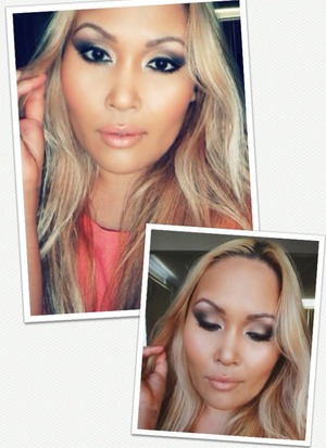 Bronze smokey eye with peachy nude lip. For this look the focus is on the eyes. However don't allow the lips to be overlooked ;)
