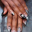 black nails/ Chanel bling