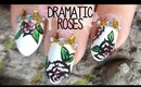 Dramatic Cartoon Roses Stiletto Nail Art