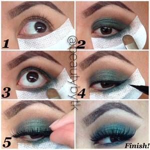 """Follow beautybytk on Instagram!! Here's a quick and simple pictorial of a holiday look created using @shadowshields  1⃣Apply @shadowshields close by lash line and edge of outer eye. Use it as a guideline to creating a clean smokey wing eyeshadow and line  2⃣ Apply @urbandecaycosmetics #vice2palette """"rewind"""" in crease with blending brush 3⃣ Pat """"damaged"""" on eyelid with a flat brush and apply as a bottom liner. (It's ok to be messy since shadow shields grab all the mess 😊)  4⃣Apply @stilacosmetics waterproof eyeliner towards the shadow shield 5⃣Finish the look off with a gorgeous pair of @houseoflashes """"Noir Fairy""""  Remove shadow shield and pat to blend concealer or foundation around the eye. Voila!  Happy Holidays!!! 😘🎅🎄🎁🎉"""