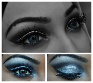 glitter on the lid with black eyeshadow on top