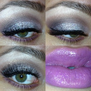 This festive look was created with different shades of pink and purple, along with NYX glitter.