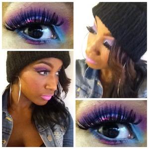 Cut Crease, Glitter Liner & False Lashes