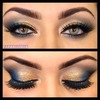 Gold eyeshadow with the pop of blue