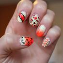 Orange vs yellow nail art mix
