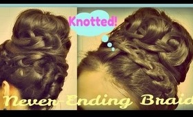 ★EASY KNOTTED, NEVER-ENDING FRENCH BRAID SOCK BUN TUTORIAL FOR MEDIUM LONG HAIR | HAIRSTYLES HOWTO