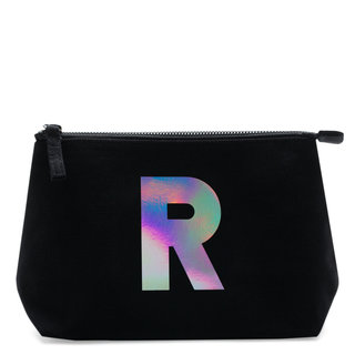 Holographic Foil Initial Makeup Bag Letter R